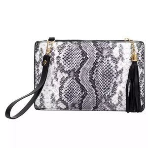 Snake Print Clutch Bag in Black